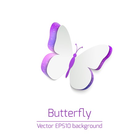 Vector background card with paper butterfly on white background photo