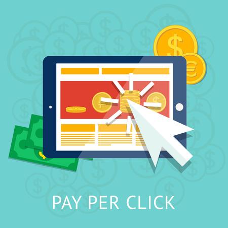 비즈니스 태블릿 및 돈 클릭 그림 당 지불