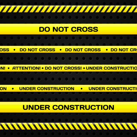 danger do not cross: Bajo las l�neas de construcci�n Vectores
