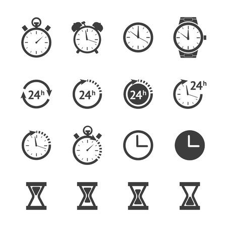 Black clock icons set Vektorgrafik