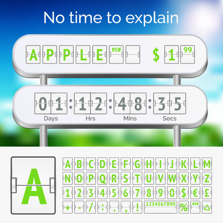 Mechanical scoreboard green alphabet with numbers on white Vector