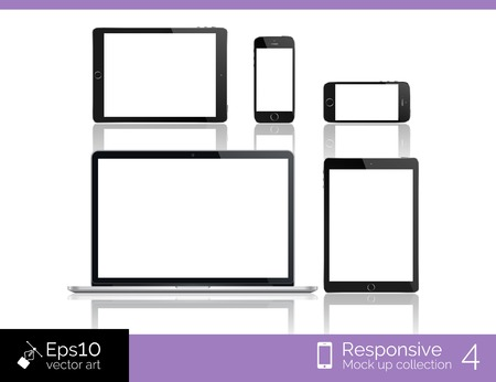 Modern laptop, glossy tablet and smartphone isolation with computer mouse  EPS 10 illustration Vector