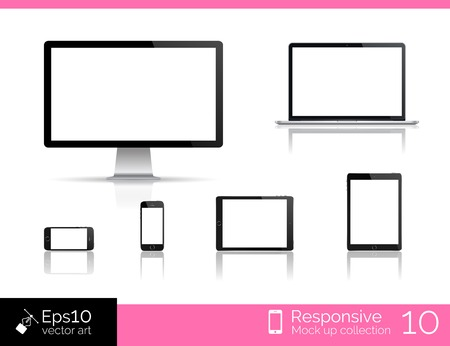 Modern laptop, glossy tablet and smartphone Vector