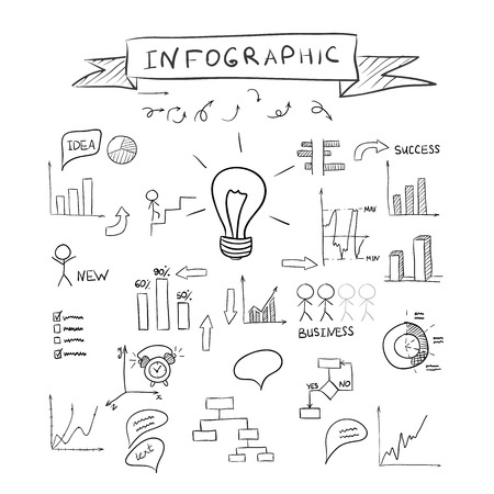 Business doodles infographic Vector