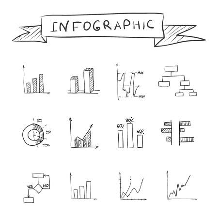 Business doodle graphs Vector