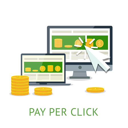 Pay per click illustration with pc and notebook Vector