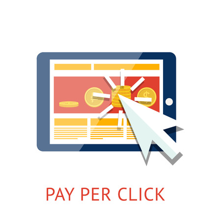 per: Pay per click illustration with tablet Illustration