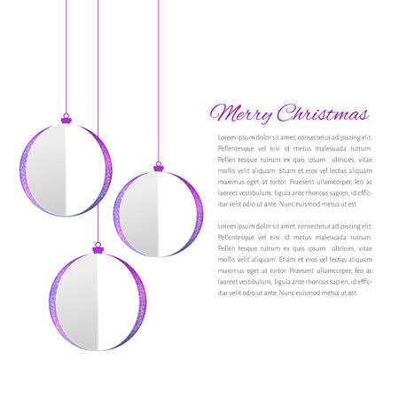 white bacground: Bolas de Navidad cutted de papaer Vectores