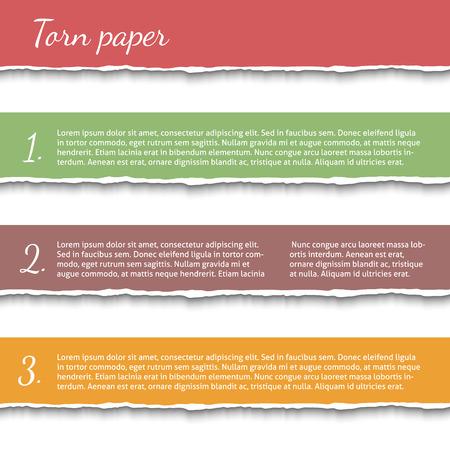 shredded paper: Torn paper banners set Illustration