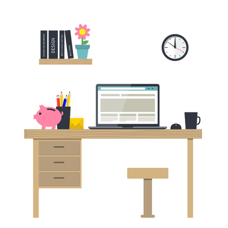 modern office: Vector illustration of workplace