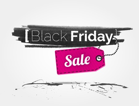 black friday: Black Friday watercolor banner with splashes