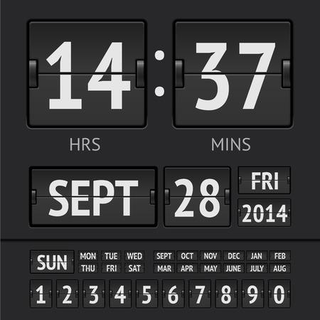 Analog black scoreboard digital week timer