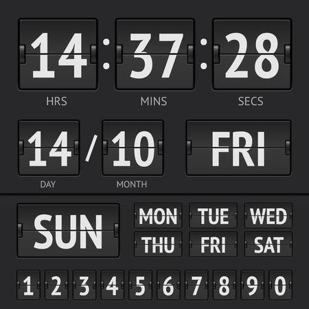 airport terminal: Analog black scoreboard digital week timer