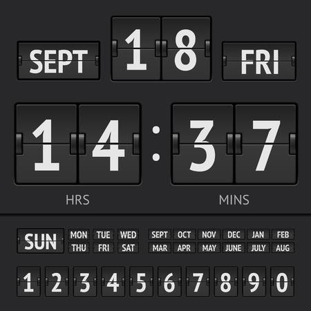 scoreboard timer: Analog black scoreboard digital week timer