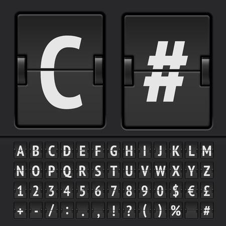 scoreboard timer: Vector scoreboard alphabet Illustration