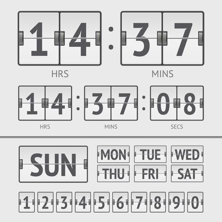 scoreboard timer: Analog white scoreboard digital week timer. Vector illustration Illustration