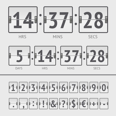 White countdown timer and scoreboard numbers. Vector EPS10 illustration