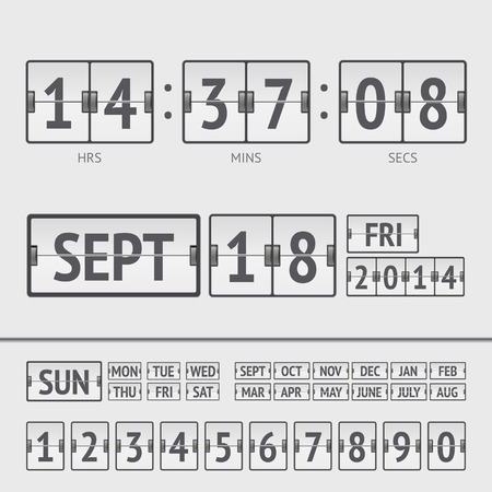 White flip scoreboard digital timer with date and time of the week Vector
