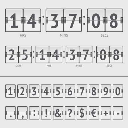 Vector countdown timer and scoreboard numbers Vector
