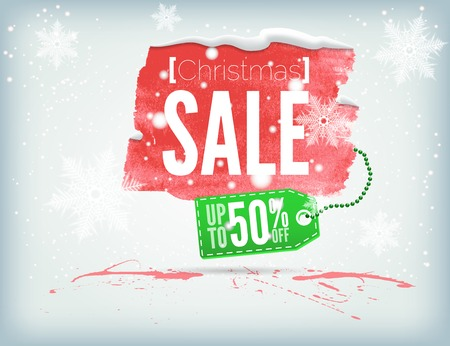 inky: Christmass inky banner with a shopping tag and snowflakes Illustration