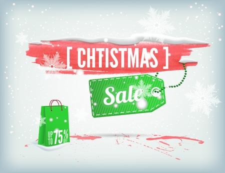 christmass: Bandera manchada de tinta Christmass con una etiqueta de compras y los copos de nieve