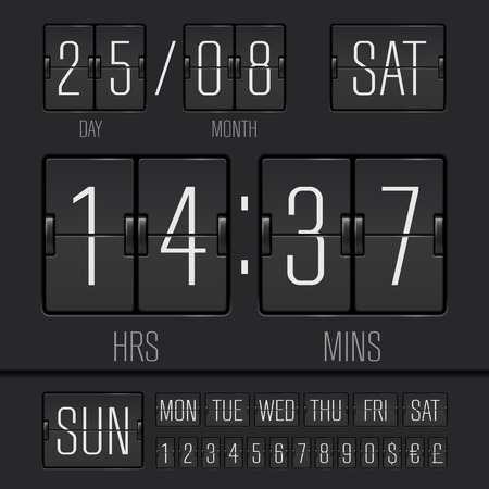 scoreboard timer: Analog black scoreboard Illustration