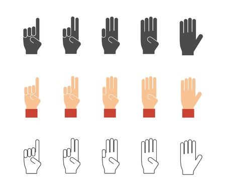 to gestures: N�meros de iconos gestuales de mano Vectores