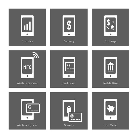mobile banking: Mobile payment icons