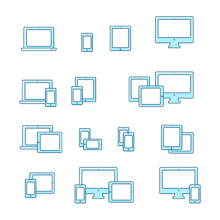 notebook computer: Device icons set