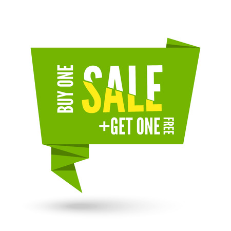 commentary: Green Origami paper speech bubble for sale. Vector ribbon banner design for advertising