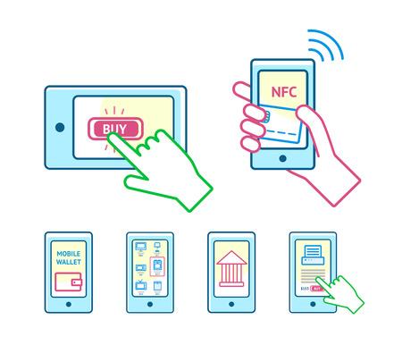e pay: Online shopping concept set
