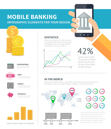 smartphone in hand: Online banking infographic