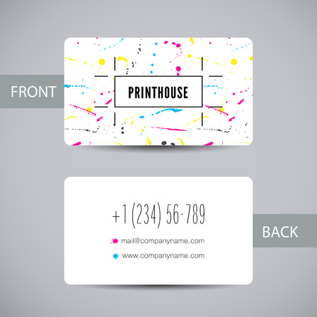 Business card for print house with CMYK ink splashes 向量圖像