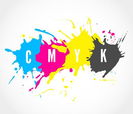 CMYK ink splashes icon Illustration