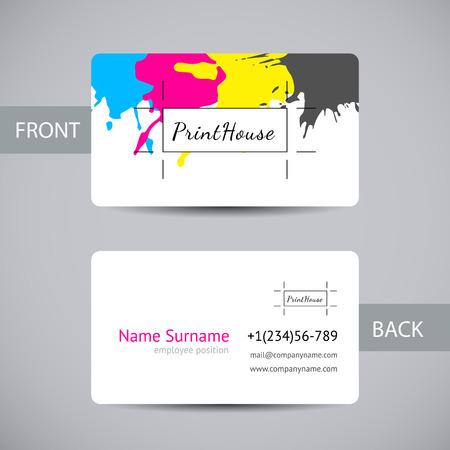 잉크 비즈니스 카드 템플릿 요소 밝아진