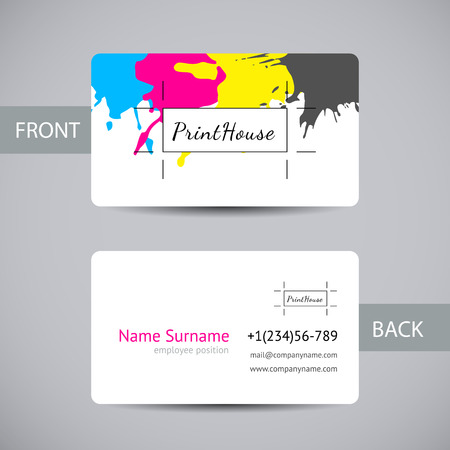 cmyk: Business card template with ink splashes elements Illustration