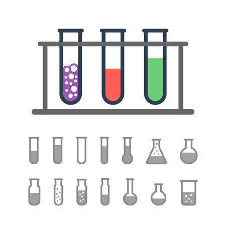 rack: Chemical Test tube rack with beakers Illustration