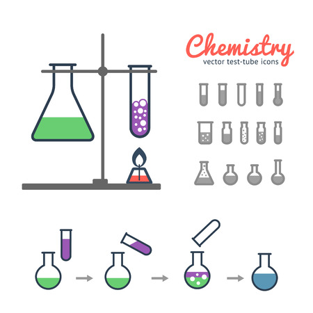 biology lab: Chemical test tube icons set for laboratory