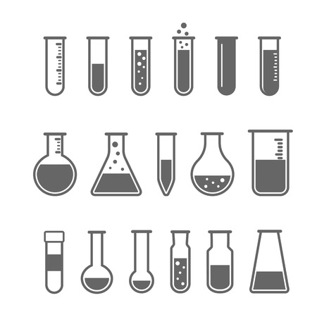 beakers: Chemical test tube pictogram icons set