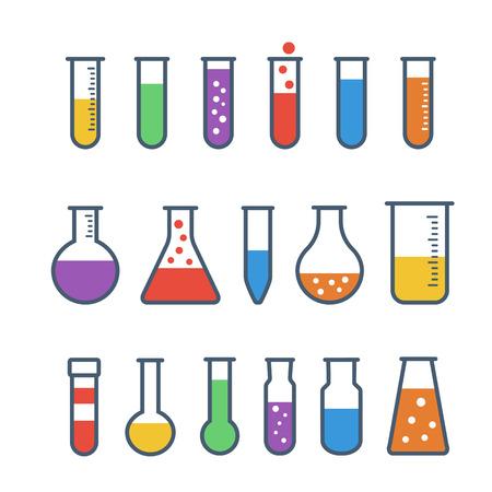Zestaw ikon płaskie probówki chemicznej