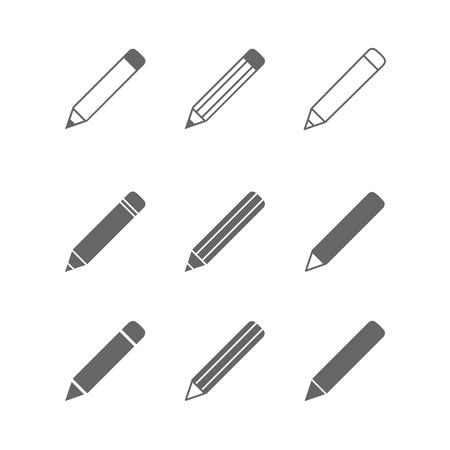 연필 아이콘은 흰색에 고립 된 집합