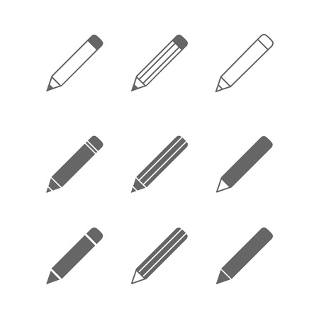 pencil and paper: Pencil icons set isolated on white