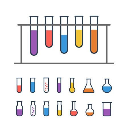 tubo de ensayo: Prueba Química bastidor de tubo con los frascos Vectores