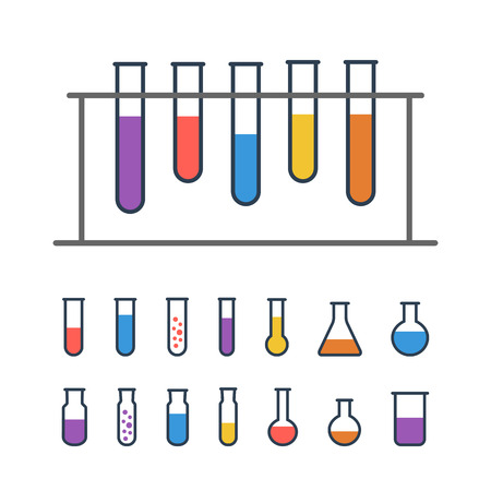 Chemical Test tube rack with flasks