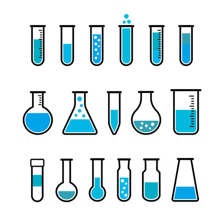 chemicals: Chemical beaker icons set