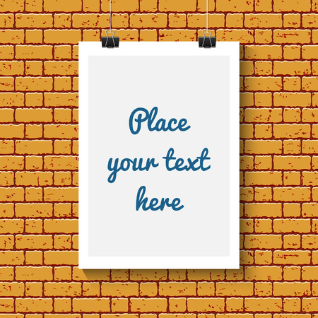 blank poster: Blank poster for text on orange brick wall