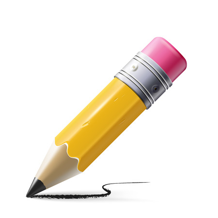 sharpened: illustration of sharpened detailed pencil isolated on white background Illustration