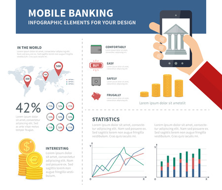 smartphone business: Online banking infographic with bank on the sreen of smartphone. Business infographic concept with design elements