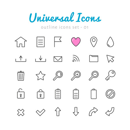 basic letters: Univerasal linear icons set for web and mobile application. Basic vector symbols.