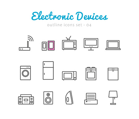router: Electronic devices thin linear icons set  for web and mobile application. Household pictograms